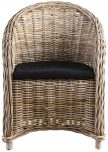 Block & Chisel rattan lounge chair with black seat cushion