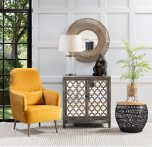 Talita Side Table - Medium - Black rattan weaved base with brown bamboo top