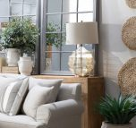 Block & Chisel glass lamp with natural linen shade