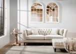 nance tufted ottoman in speckled beige