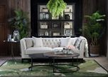 Karissa Linen Sofa with tufted detailed back and wooden legs