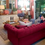 Block & Chisel Duchess Red tufted sofa with legs