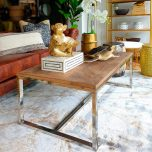 Wooden top coffee table with metal base