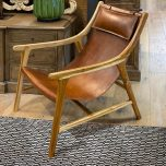 Teak frame lazy chair in leather with head cushion