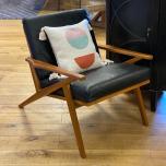 Teak frame armchair with  leather cushions