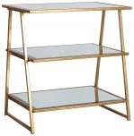 Block & Chisel 3 tier metal side table with mirror shelves