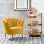 marina scalloped shape back in yellow with high armrest chair