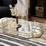 gold metal tray with handles medium