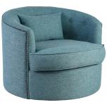 Block & Chisel teal upholstered swivel tub chair