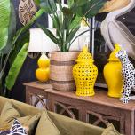 Yellow ginger jar pot