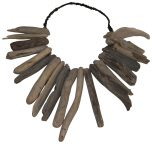 Block & Chisel round metal and drift wood necklace