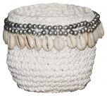 Block & Chisel macramé basket with shells and metal beads