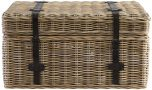 Block & Chisel kubu rattan basket with leather straps