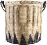 Block & Chisel round kubu rattan basket with black trim