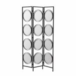 Black framed mirror room divider with swivel mirrors