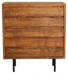 Block & Chisel acacia wood chest of drawers with iron pipe legs