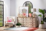 white sideboard with 10 drawers and wooden top