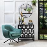 round industrial mirror with shelf