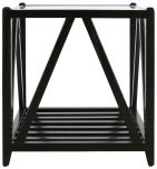 Block & Chisel square solid oak side table with a matt black finish & glass top