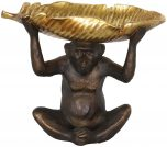 Block & Chisel polyresin monkey with antique gold lotus leaf