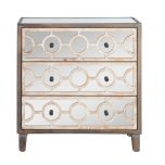 Gemma Drawer Chest with 3 mirrored drawers and geometric pattern