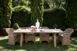 Block & Chisel rectangular outdoor wooden dining table with slated top