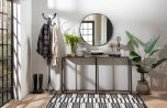 Block & Chisel Console Table Old Elm Top Metal Base