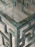 metal console with glass top and greenish metal base