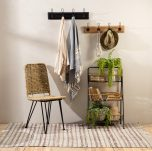 Block & Chisel wooden wall rack with metal hooks