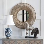 Round mirror with sunburst pattern of bamboo and plywood combo