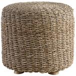 Block & Chisel pandanus stool with teak wood feet