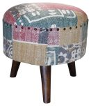 Block & Chisel round multi-coloured cotton upholstered stool