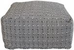 Block & Chisel square black and white print cotton upholstered pouf