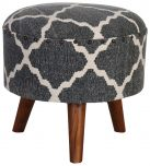 Block & Chisel round black and white print cotton upholstered stool
