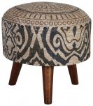 Block & Chisel round brown and black print cotton upholstered stool