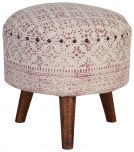 Block & Chisel round red and off white print cotton upholstered stool
