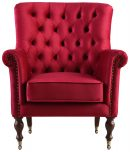 Block & Chisel red upholstered occasional chair on castors