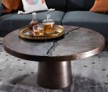 block and chisel metal coffee table with pedestal base