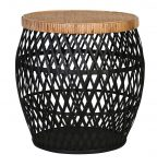 Talita Side Table - Small - Black rattan weaved base with brown bamboo top