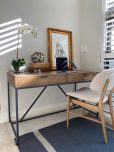 Block & Chisel antique weathered oak desk with matt black wrought iron base desk
