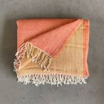 100% WOOL THROW IN pink/ yellow