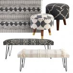 Block & Chisel rectangular off white upholstered bench with black iron hairpin legs