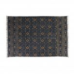 destinty rug in black with mustard diamond