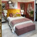 Block & Chisel mink velvet upholstered bedend