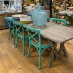 Block & Chisel teal distressed birch wood crossback dining chair