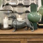 grey dachshund sausage dog with sparkling collar statue
