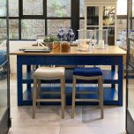 sally counter stool with blue upholstered seat