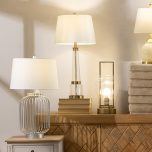 Block & Chisel metal and clear crystal lamp with white faux silk shade