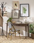 antique weathered oak writing table with 3 drawers