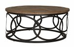 round coffee table with metal base and wood top